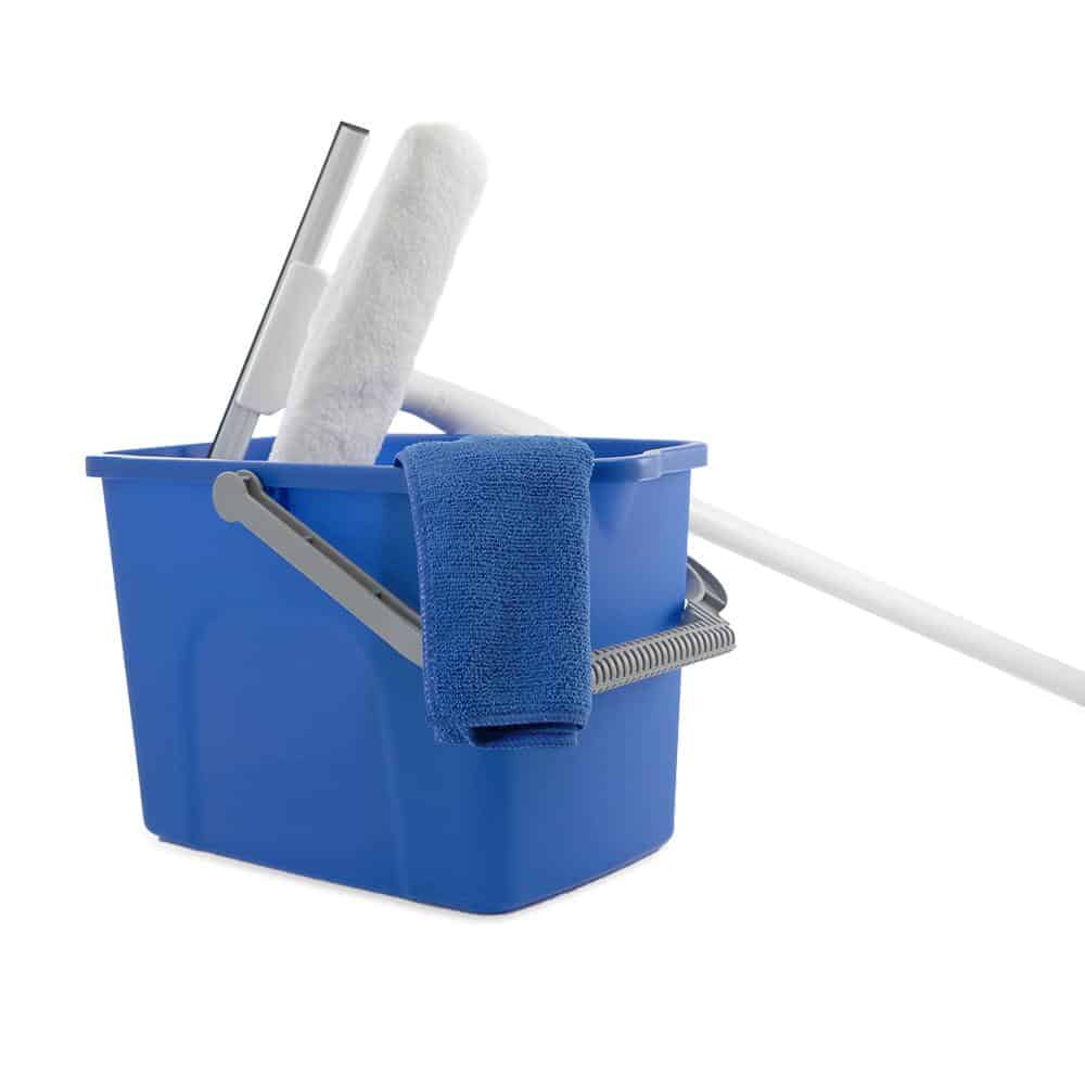 window cleaning kit that includes squeegee, bucket and pole