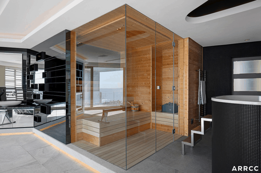 I love this sauna because it has glass walls so you can enjoy the room from the third floor of this manion overlooking South African city and ocean. The sauna is big enough for 3 people.