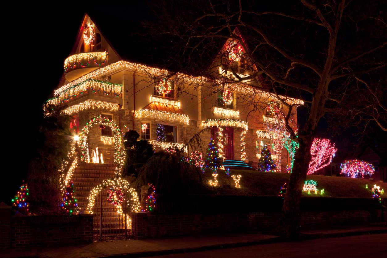 Another stately home loaded with lights on the house and the property.  It's definitely not overdone though.