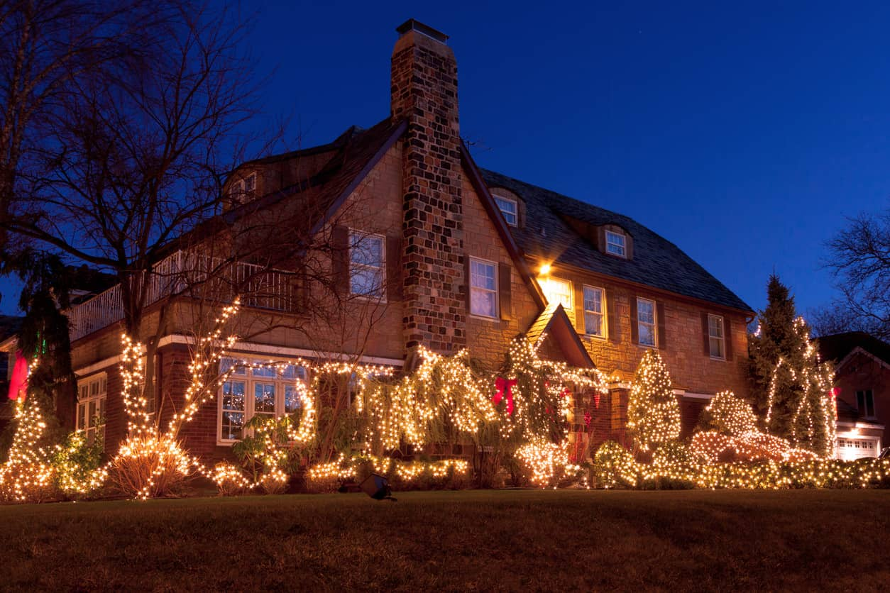 Tudor revival home front yard is beautifully lit up with lights throughout the garden.