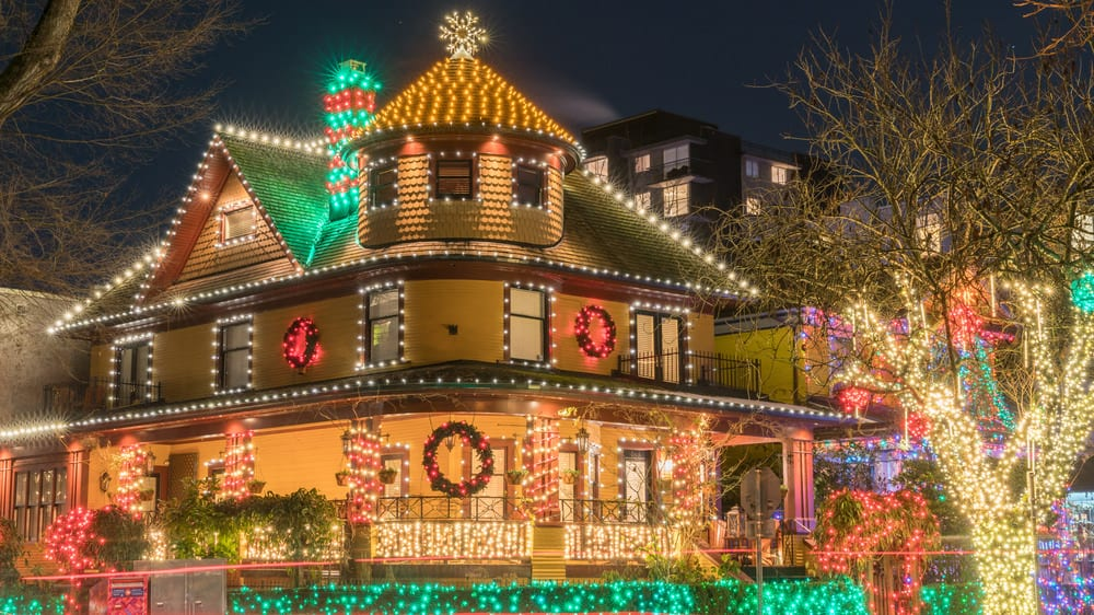 Here's another example of a spectacularly decorated house in North Vancouver.  It's an old Victorian style home totally decked out with Christmas lights from top to bottom.  The wrap-around veranda offers plenty of great decorating opportunities.