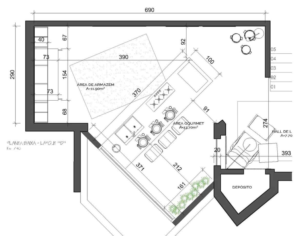 Blueprint floor plan of the kitchen without cabinets or counters so you can see the dimensions and layout.