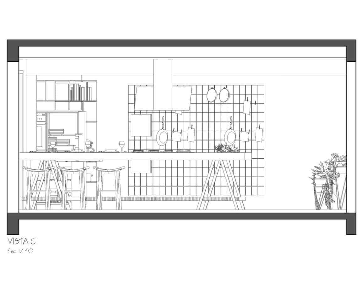Side view drawing of this industrial style kitchen showing the workbench style island and wall rack design.