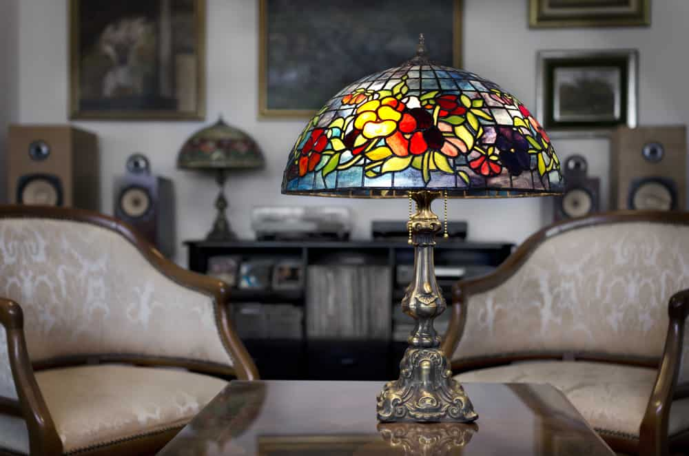 Antique Tiffany lamp on antique table