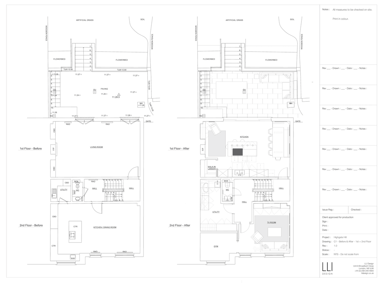Floor plan for 1st and 2nd floors of townhouse before and after a renovation.