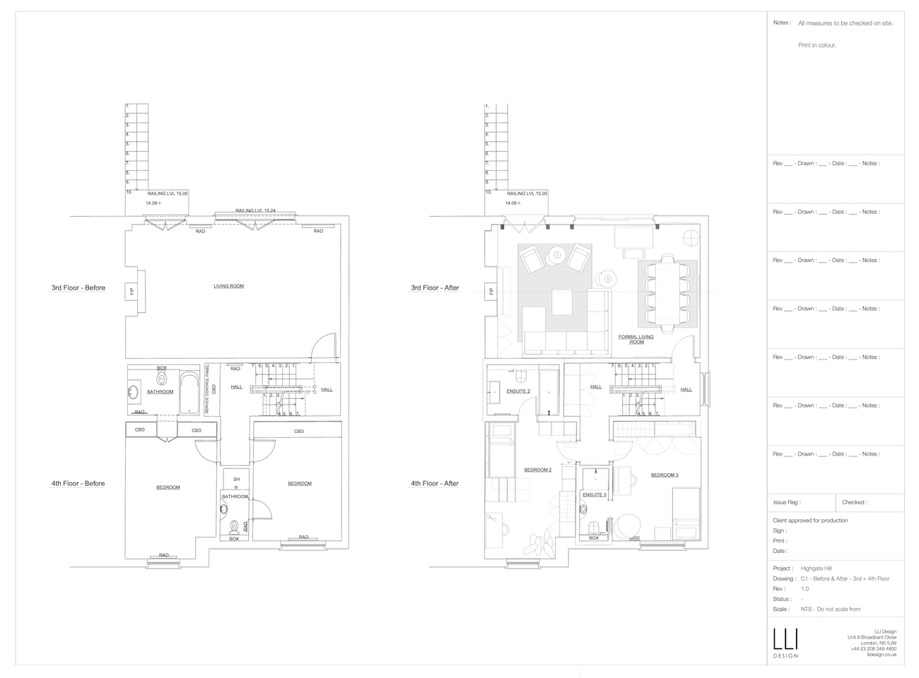 Floor plan for 3rd and 4th floors of townhouse before and after a renovation.