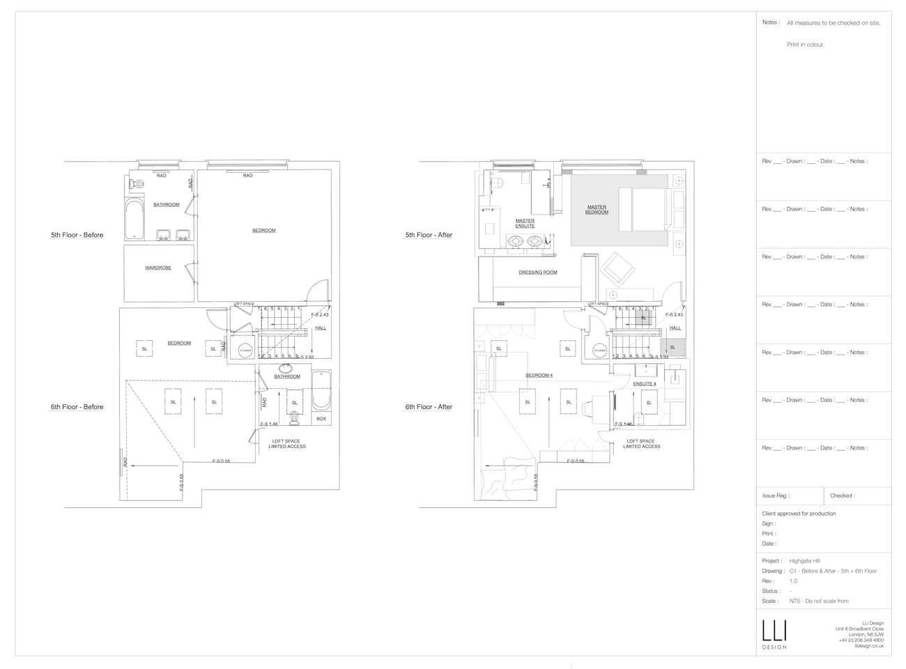 Floor plan for 5th and 6th floors of townhouse before and after a renovation.