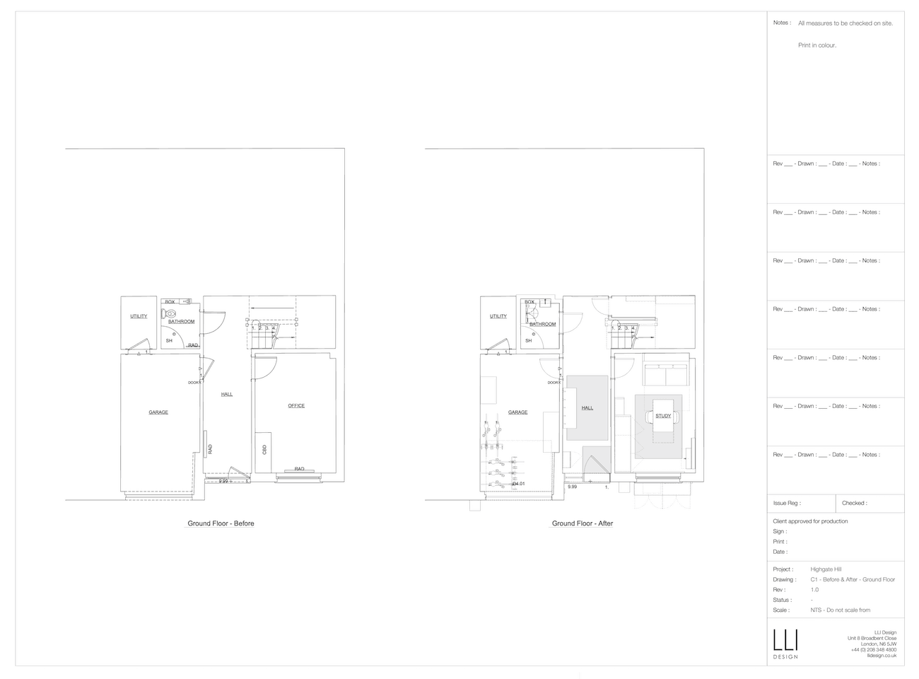 Floor plan for ground floor of townhouse before and after a renovation.