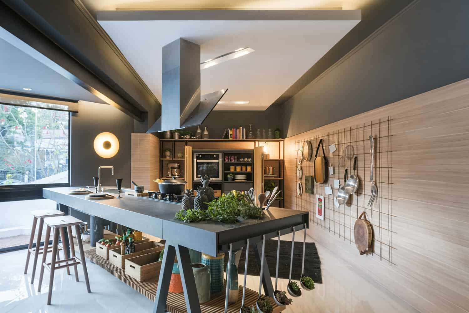 Black modern kitchen with no cabinets
