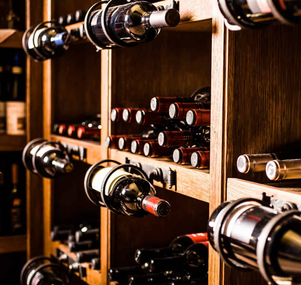 Custom wine cellar with a variety of bottles