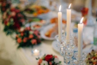Dinner table with taper candles