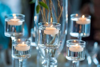 Floating candles in stemware