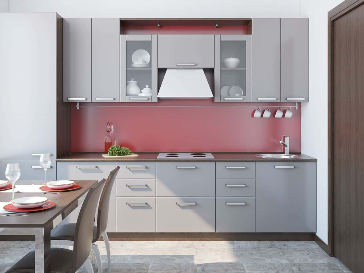 Small gray kitchen with small kitchen dining table