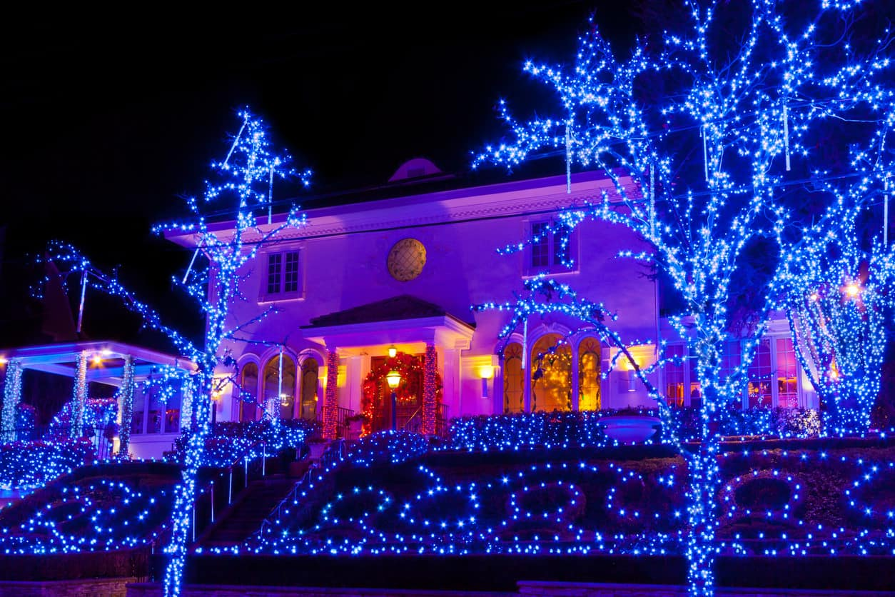 Cool blue Christmas light display