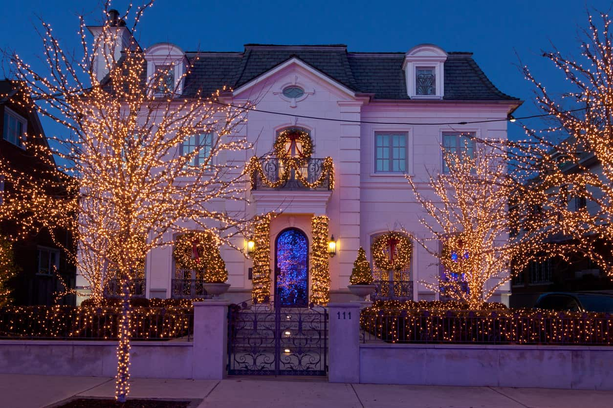 House with white Christmas lights