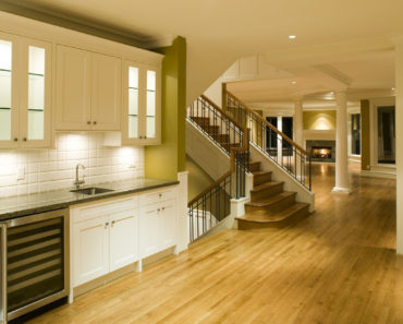 Home interior with oak flooring