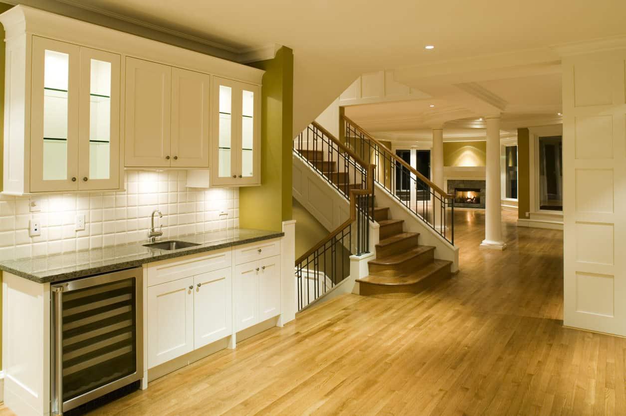 Home interior with oak flooring