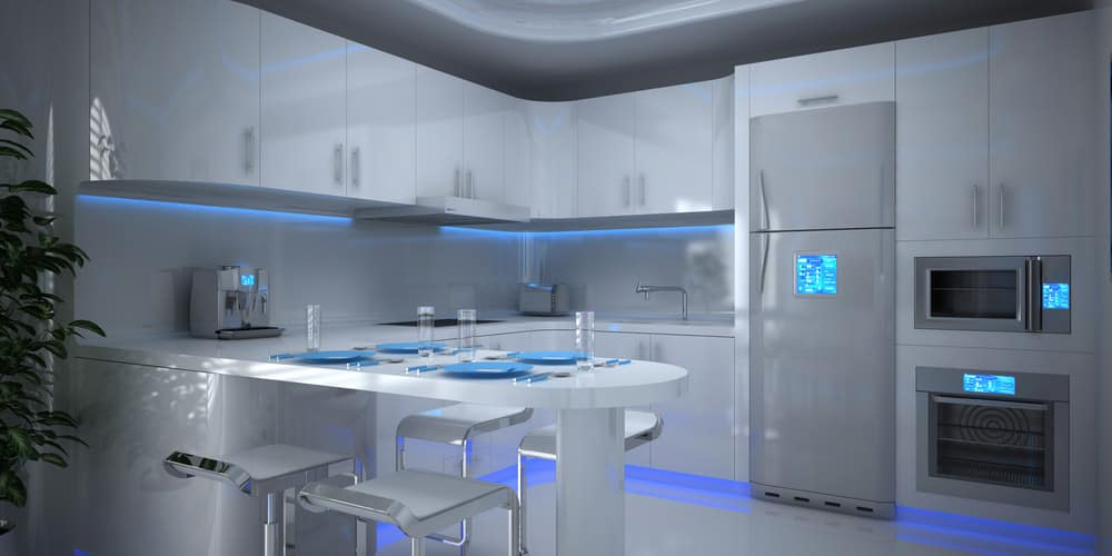 Kitchen with modern appliances and smart technology