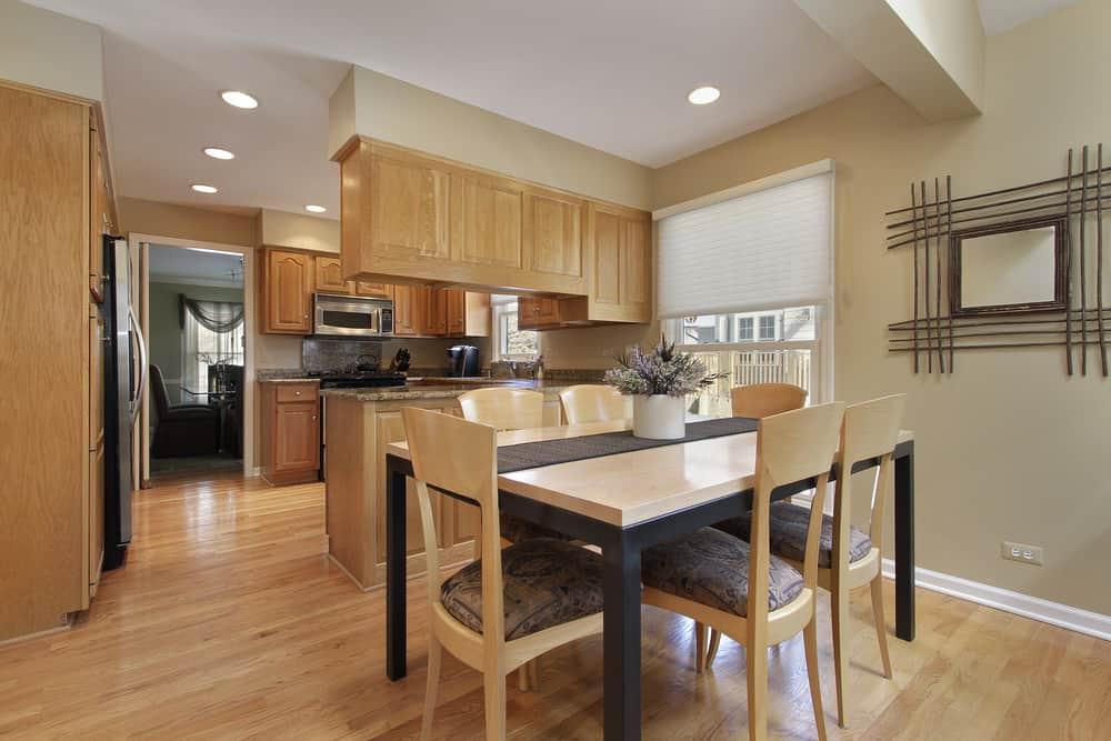 Kitchen with oak hardwood flooring