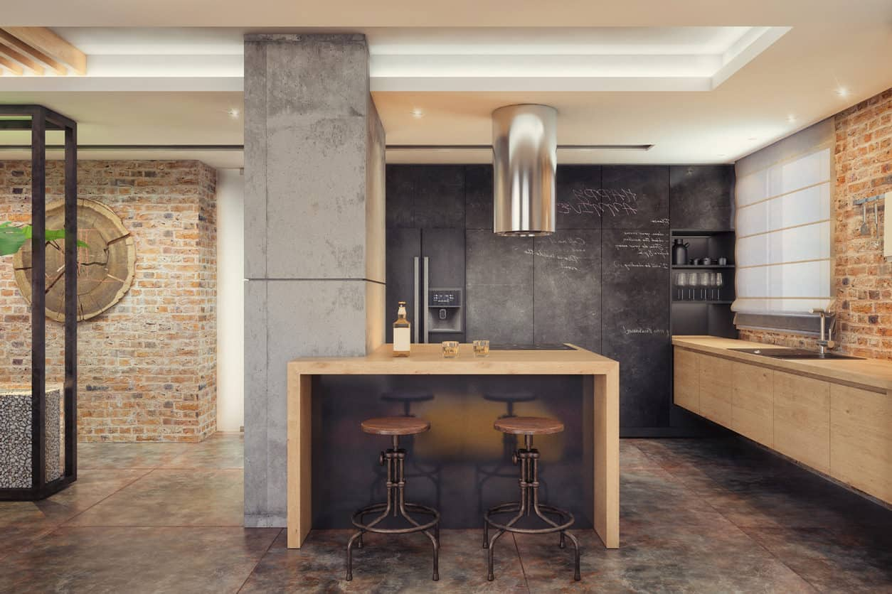 Small modern hipster industrial style kitchen with floating cabinets chalk wall concrete support column & 43 Modern Kitchen Design Ideas (Photos)