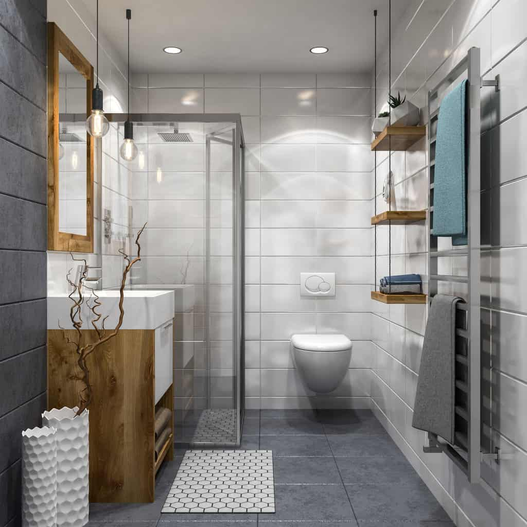 Here's another example of a small primary bathroom in contemporary design.