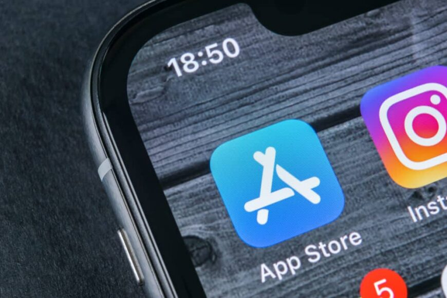 Photo of iOS app store icon on iPhone