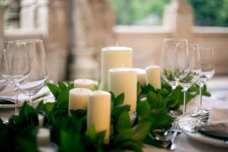 Pillar candles on dining table