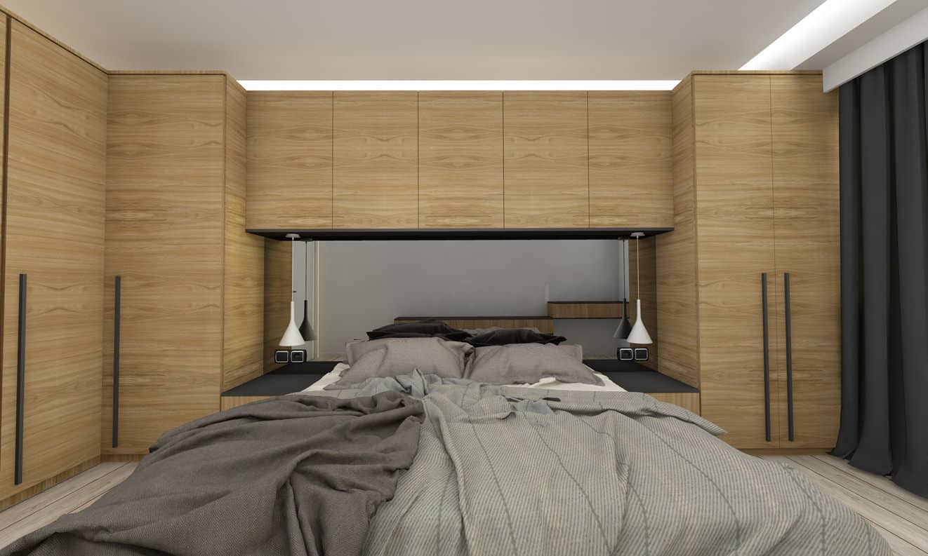 Example of a small primary bedroom design