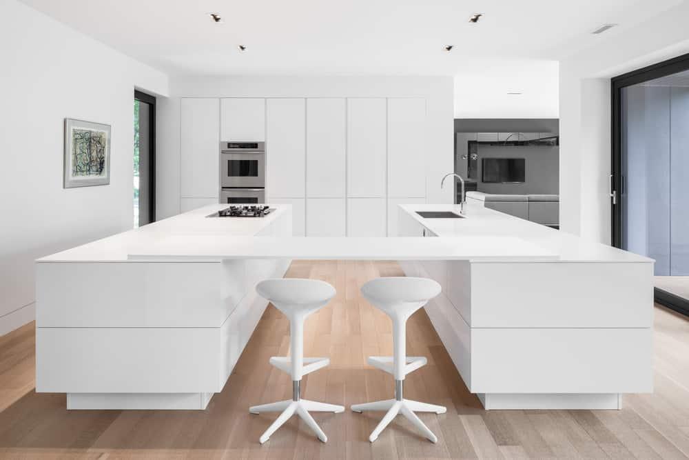 Stark white modern kitchen with large u-shaped island