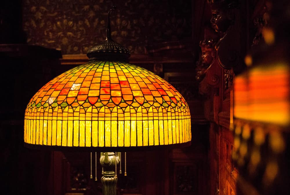 Tiffany lamp on table