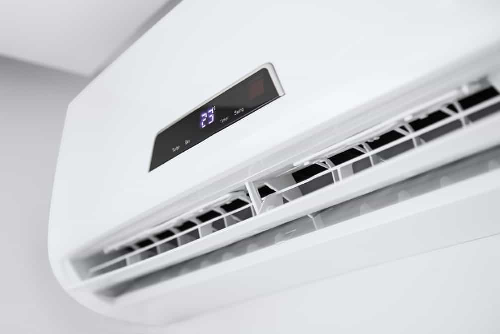 Closeup of a split air conditioner.