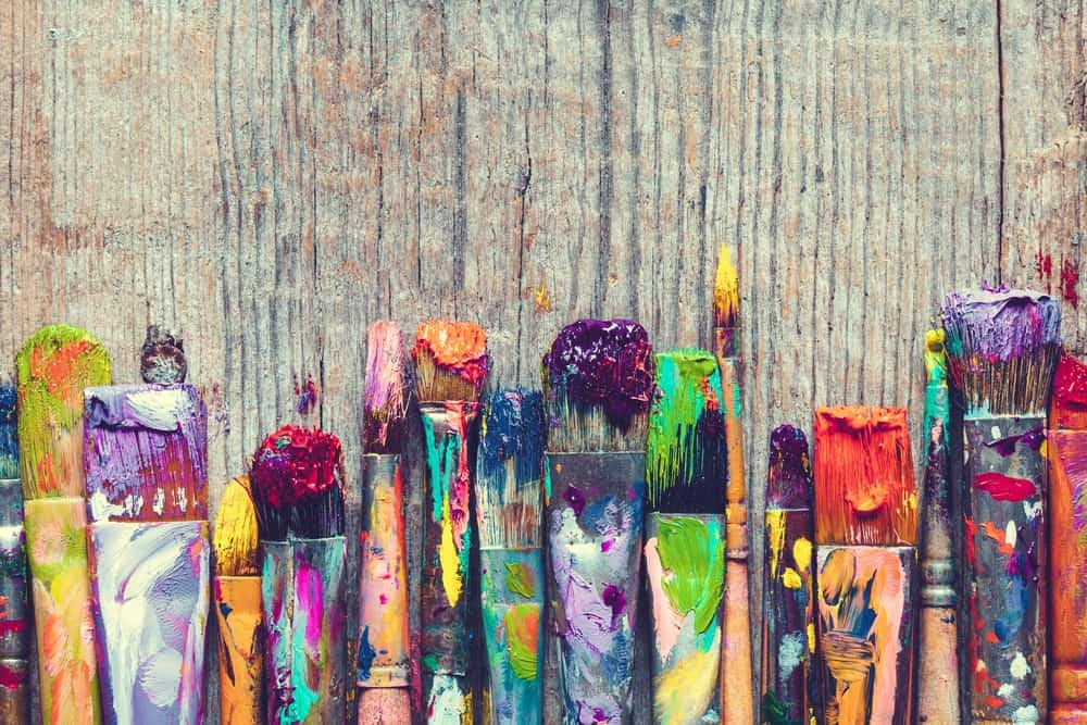 Different types of an artist's paintbrush.