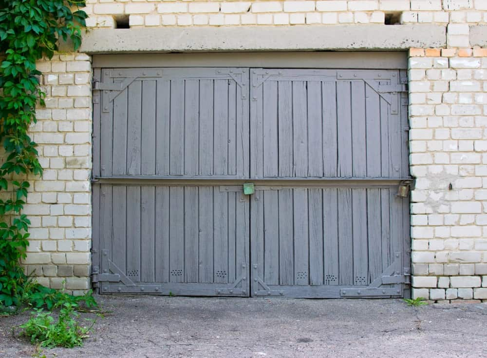 Garage with a barn door.