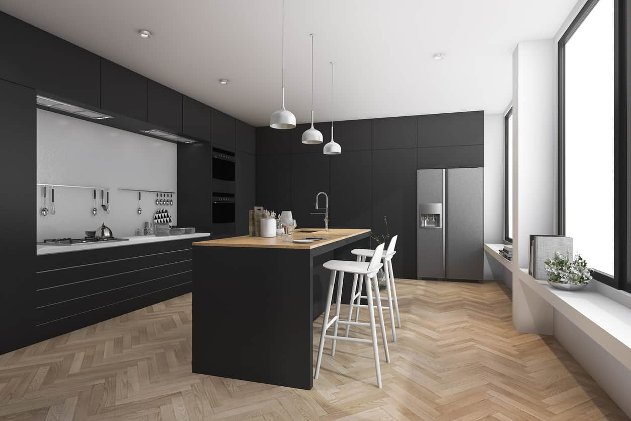 This is a 3D rendering of a modern black kitchen with white and wood countertops along with herringbone wood floor.