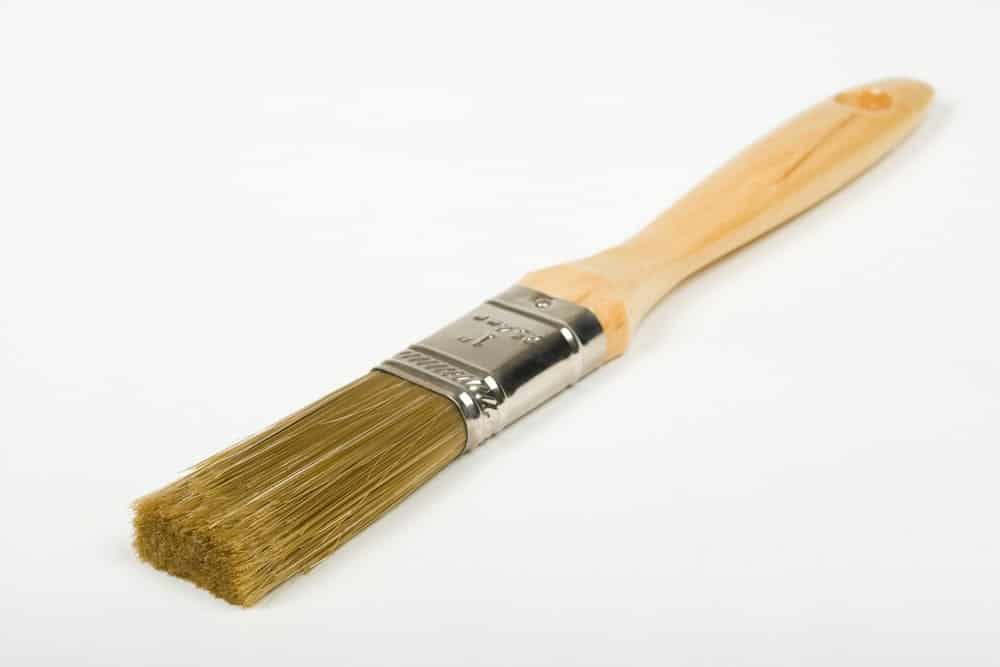Paintbrush with nylon/polyester blend bristles.