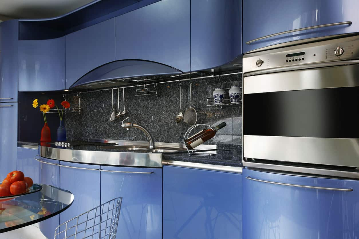 Modern compact blue kitchen interior