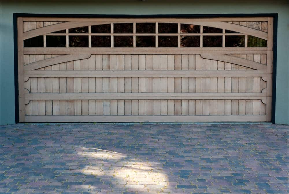 Garage with a carriage door.