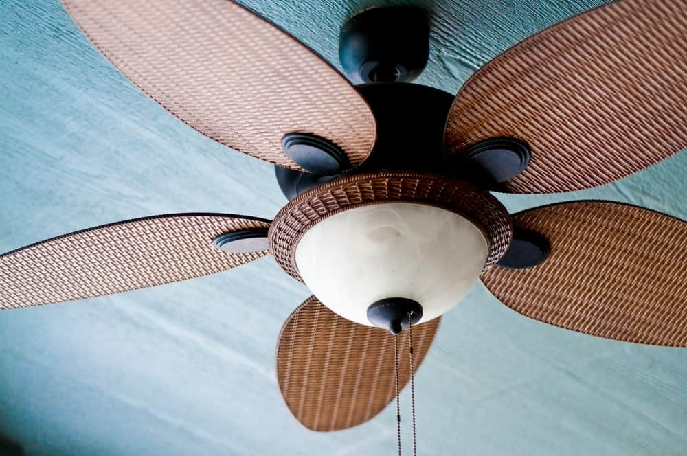 Tropical style ceiling fan with light.