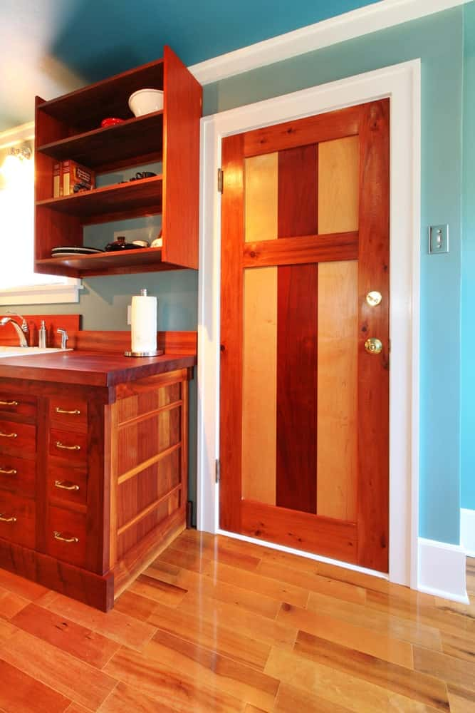 Craftsman door in a kitchen.