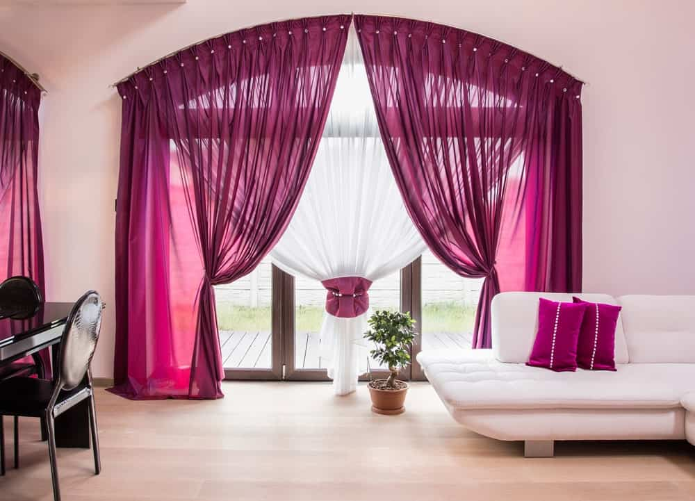 Home interior with stunning full-length draperies.