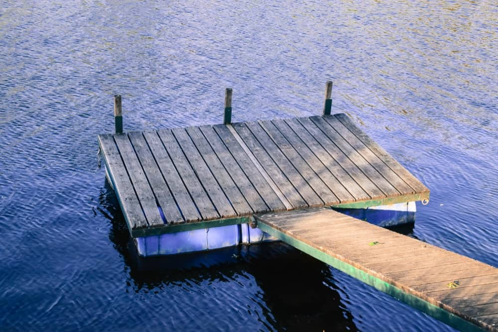 Floating dock on a river.