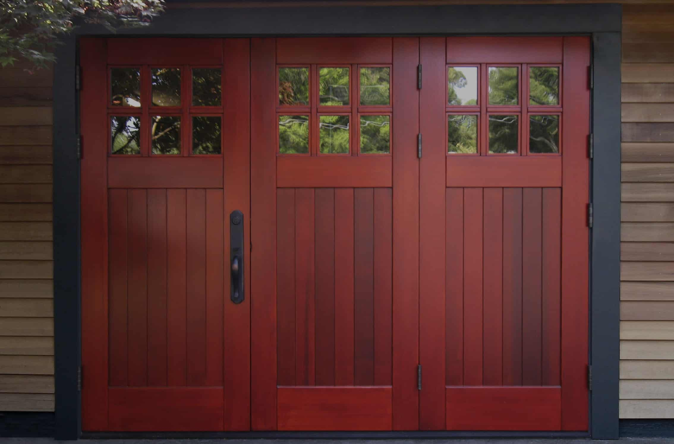 3-panel wood folding doors for the garage