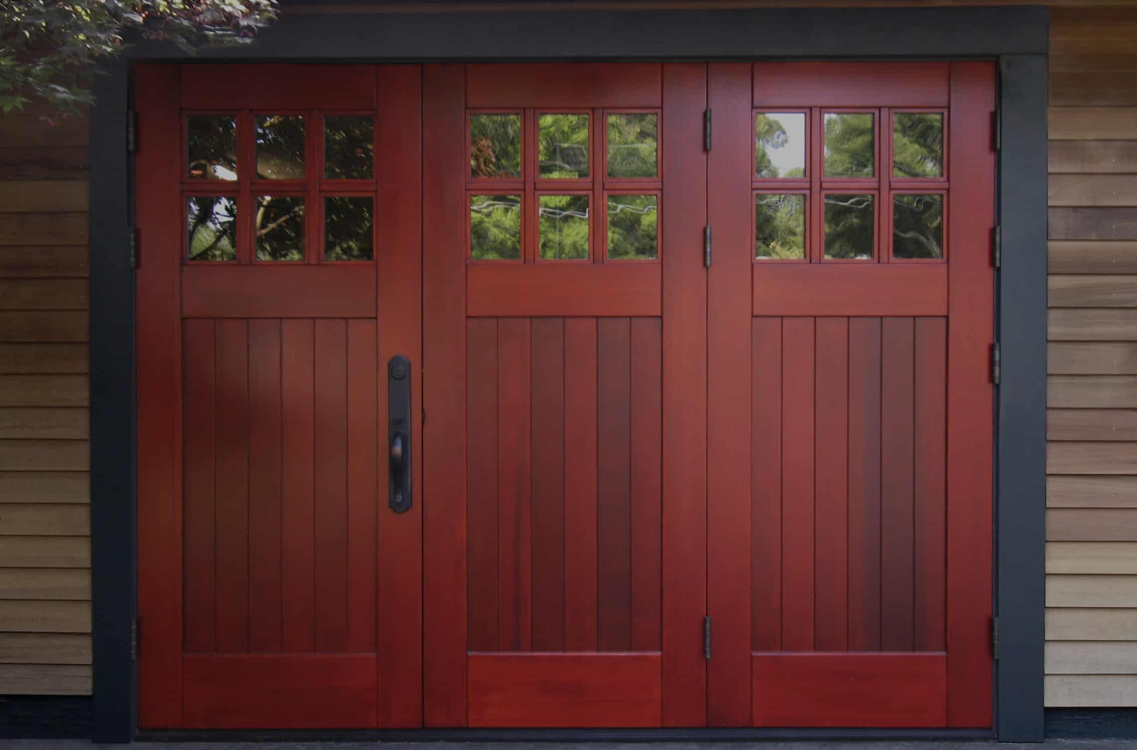3-panel wood folding doors for the garage