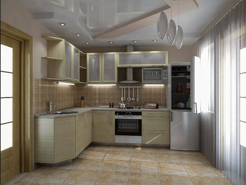 Modern kitchen featuring cabinets with frosted glass doors.