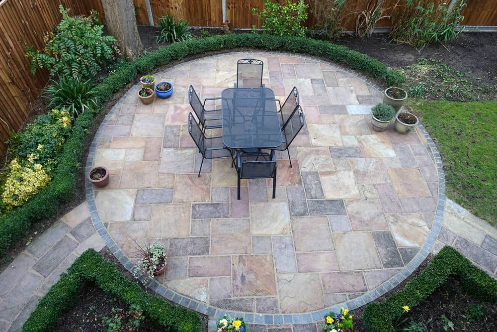 Top view of a backyard garden patio.
