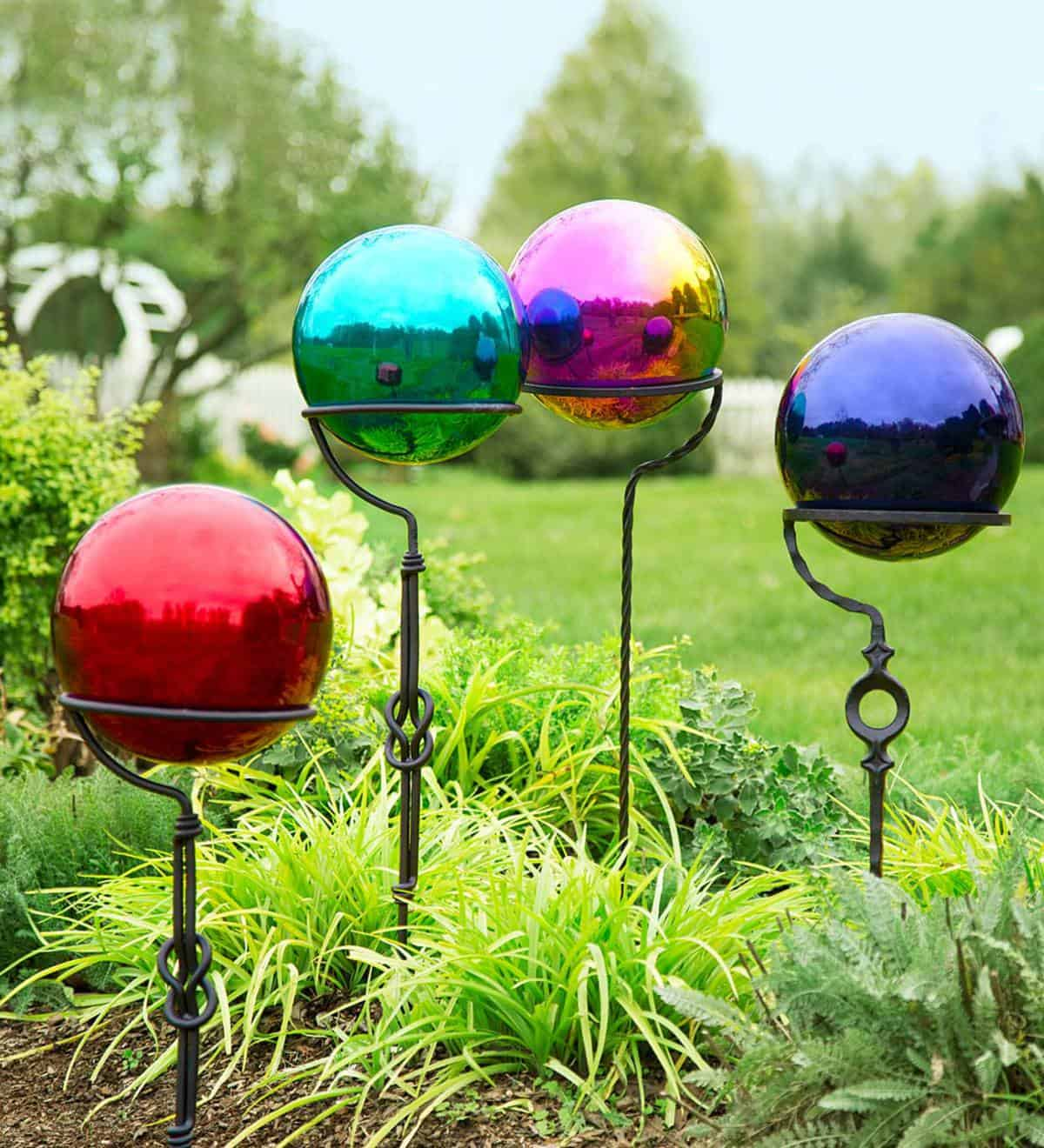 Gazing balls in a garden