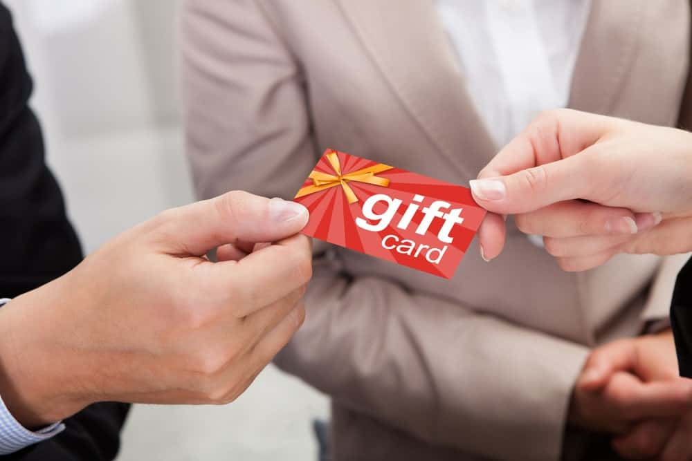 Receiving or giving a gift card.