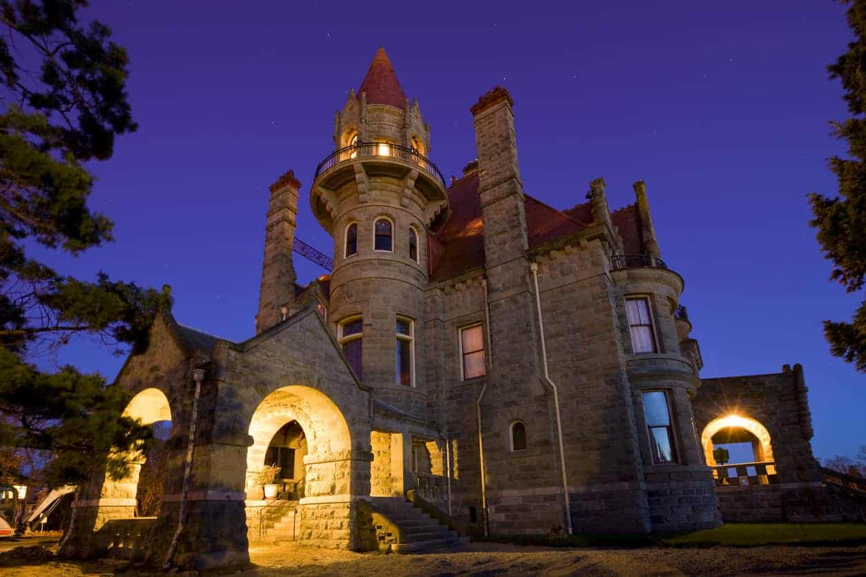 The landmark Craigdarroch Castle in Victoria, BC, Canada. Now that's a turret. It towers above the rest of the home and includes a walk-around balcony acting as a watch tower. This is a stunning home built by coal baron Robert Dunsmuir.
