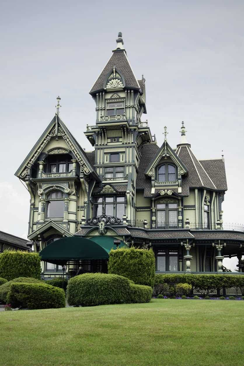 The Carson mansion, a large Victorian house of American Queen Anne style architecture in Eureka, California. This is an example where the turret is incredibly tall compared to the rest of the house. It's also a square turret which is not as popular as round turrets