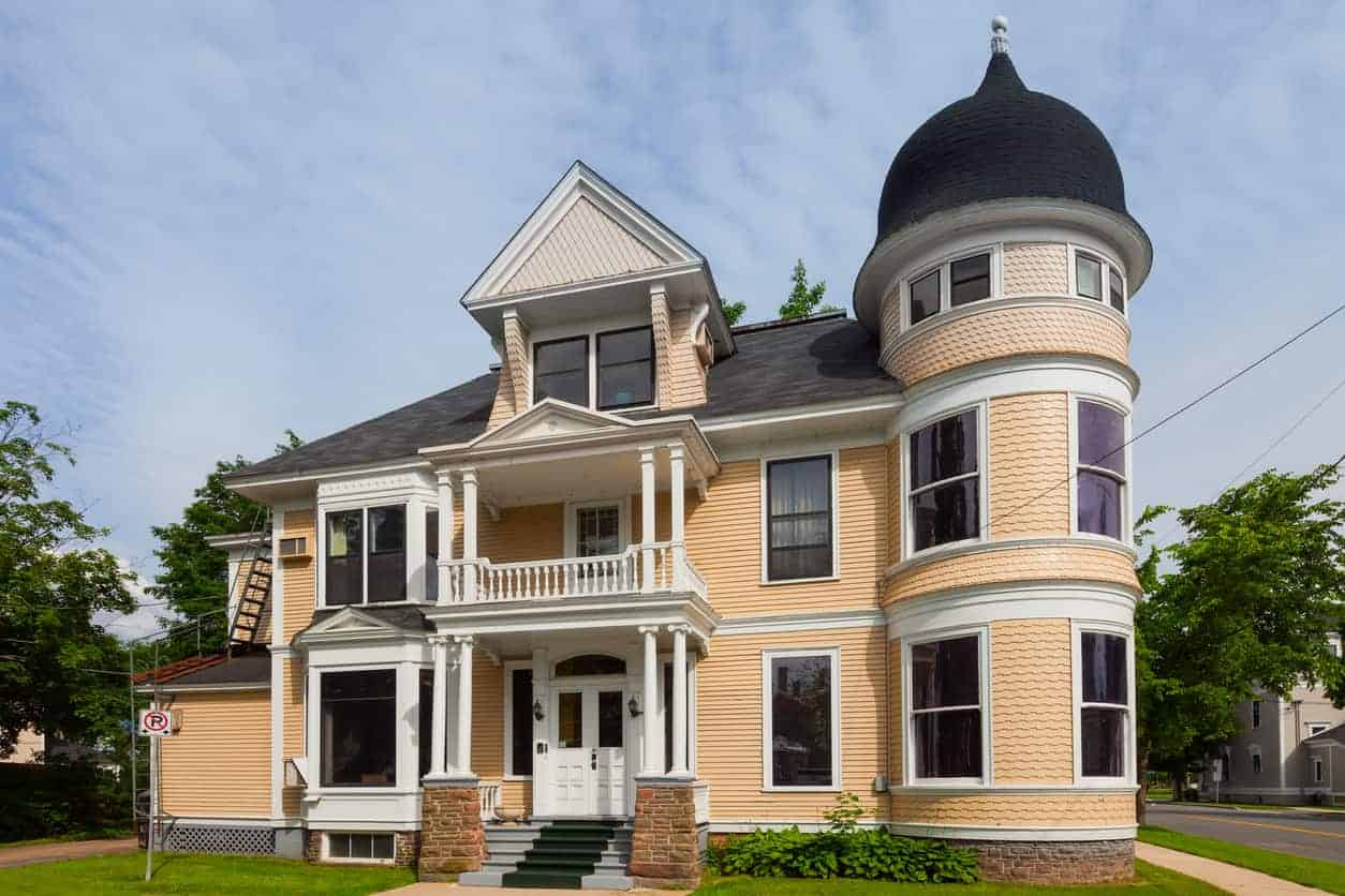 Victorian style house with turret in Fredericton, New Brunswick, Canada.